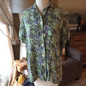 Flax tropical button up shirt top green M L